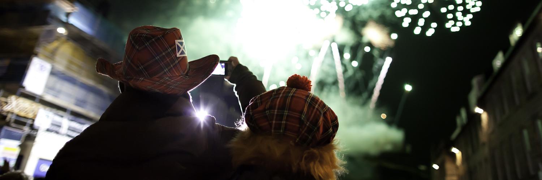 A firework display in Edinburgh.